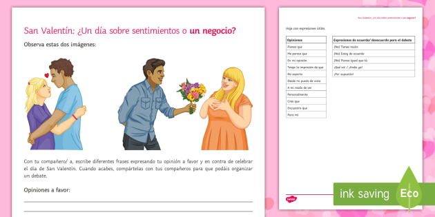 Valentine's Day Opinions Writing Activity Sheet Spanish - Valentines Day, 14th February, debate, opinions, for, against, expressions, sentences, writing, spea