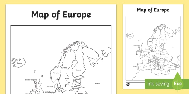 Map Of The Uk And Europe.Map Of Europe With And Without Names Geography Europe Map