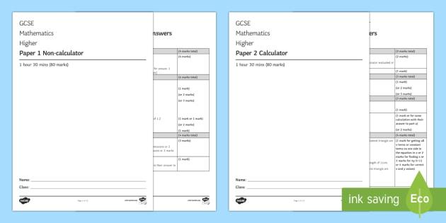 Gcse Maths Specimen Papers 1 2 3 Higher 001