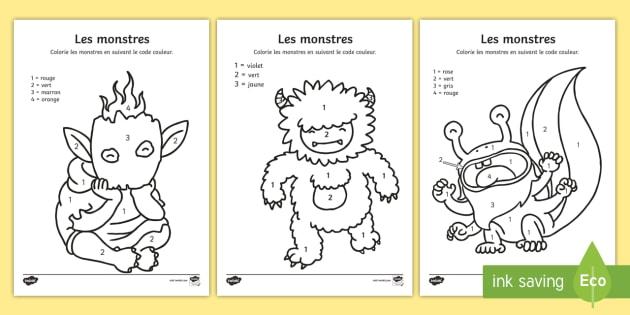Coloriage Magique Les Monstres Teacher Made