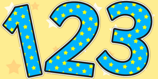 Blue And Yellow Stars Display Numbers - classroom display, number