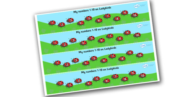 1-10 on Ladybirds Number Strips - Maths, Math, number track, ladybird, Numberline, Number line, Counting on, Counting back, counting, minibeasts, ladybird