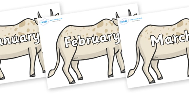 Months of the Year on African Ox - Months of the Year, Months poster, Months display, display, poster, frieze, Months, month, January, February, March, April, May, June, July, August, September