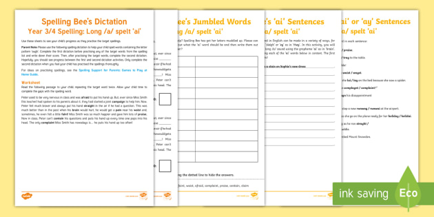 Year 3/4 Spelling at Home: Long /a/ Spelt \'ai\'  Spelling Pack - Support with KS2 spellings, long a spelt ai, long /a/ spelt ai, ai spellings, Year 3, Y3, SPaG, GPS,