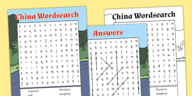 China Wordsearch - china, wordsearch, words, country, word search