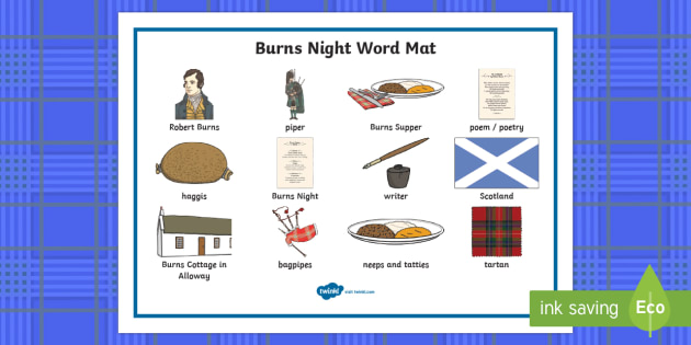 Burns Night Word Mat - Scottish, Scotland, significant individuals, Robert Burns, National Poet, Burns Supper, Burns Night,