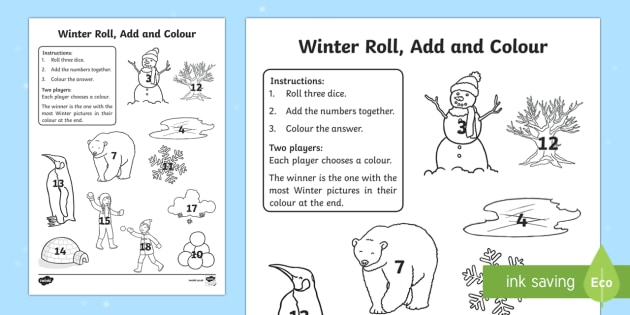 Winter Themed Roll and Colour Three Dice Worksheet / Activity Sheet