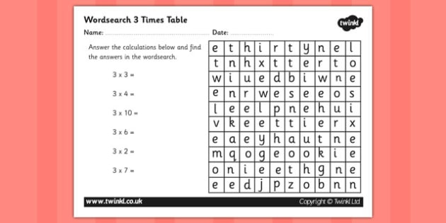 Multiplication 3 times tables wordsearch worksheet multiplication 3 times tables wordsearch worksheet multipilcation 3 times tables times tables ibookread PDF
