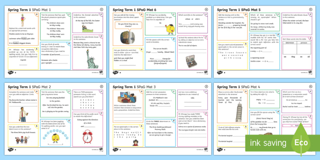 Year 4 Spring Term 1 SPaG Activity Mats - SPaG Activity Mats KS2, SPaG, GPS, spelling, punctuation, grammar, Y4, Year 4, pronouns, adverbials,