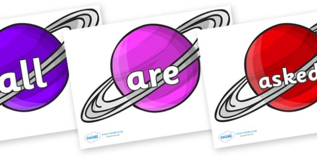 Tricky Words on Planets - Tricky words, DfES Letters and Sounds, Letters and sounds, display, words
