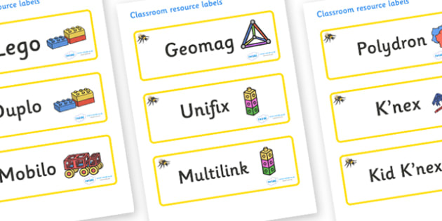 Bumble Bee Themed Editable Construction Area Resource Labels - Themed Construction resource labels, Label template, Resource Label, Name Labels, Editable Labels, Drawer Labels, KS1 Labels, Foundation Labels, Foundation Stage Labels