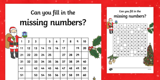Christmas Themed Missing Numbers Number Square