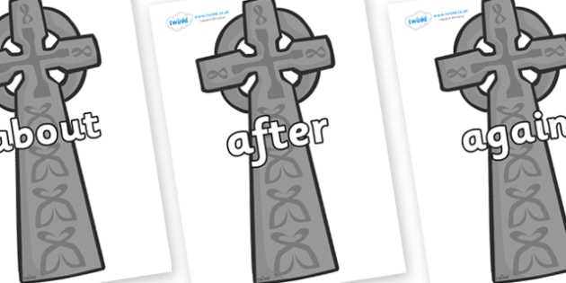 KS1 Keywords on Celtic Cross - KS1, CLL, Communication language and literacy, Display, Key words, high frequency words, foundation stage literacy, DfES Letters and Sounds, Letters and Sounds, spelling