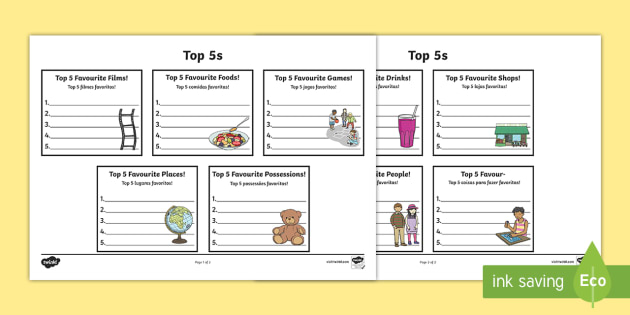 Top 5s Ranking Favourites Worksheet / Activity Sheet