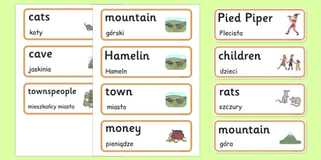 The Pied Piper Word Cards Polish Translation - polish, pied piper, word cards, word, cards
