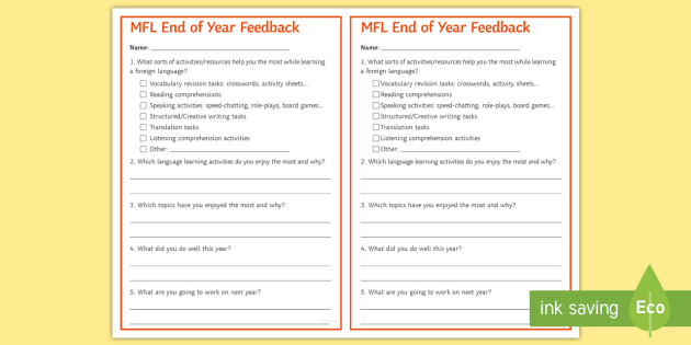 End-of-Year Feedback Questionnaire Cards - survey, modern, foreign