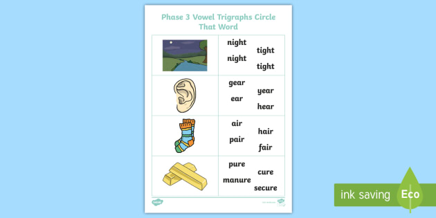 NEW * Phase 3 Vowel Trigraphs Circle That Word Activity Sheet