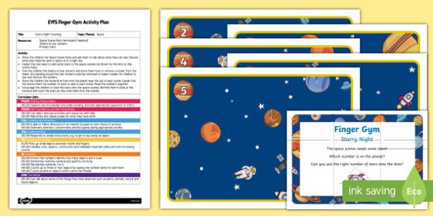 EYFS Starry Night Counting Finger Gym Plan and Resource Pack