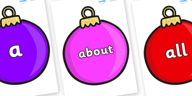 100 High Frequency Words on Baubles (Plain) - High frequency words, hfw, DfES Letters and Sounds, Letters and Sounds, display words