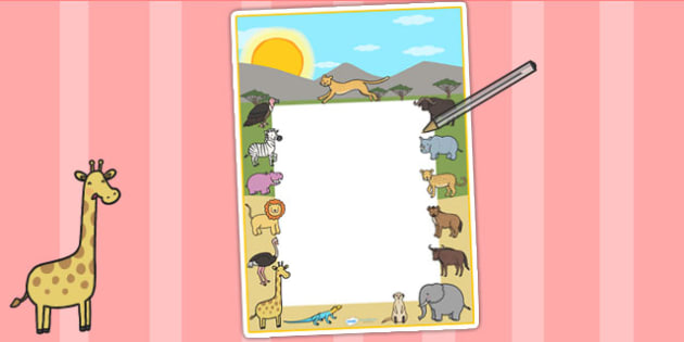 Safari Themed Editable Notes - teacher notes, jungle, animals