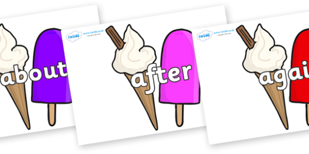 KS1 Keywords on Ice Cream and Lollies - KS1, CLL, Communication language and literacy, Display, Key words, high frequency words, foundation stage literacy, DfES Letters and Sounds, Letters and Sounds, spelling