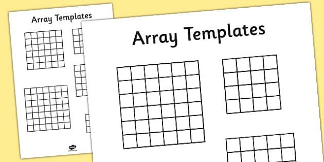 Array Templates - array, templates, maths, numeracy, squares