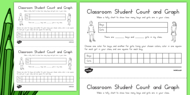 Classroom Student Count and Graph Activity Sheet, worksheet