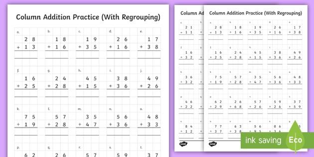 2 Digit Vertical Column Addition Ks2 Maths Digit column addition worksheets ks2