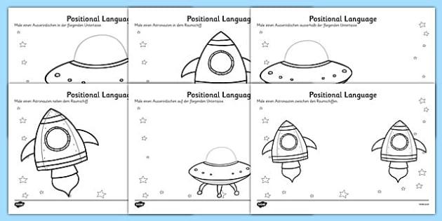 alien positional language worksheets german german. Black Bedroom Furniture Sets. Home Design Ideas