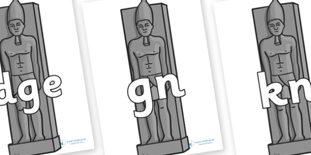 Silent Letters on Egyptian Statues - Silent Letters, silent letter, letter blend, consonant, consonants, digraph, trigraph, A-Z letters, literacy, alphabet, letters, alternative sounds