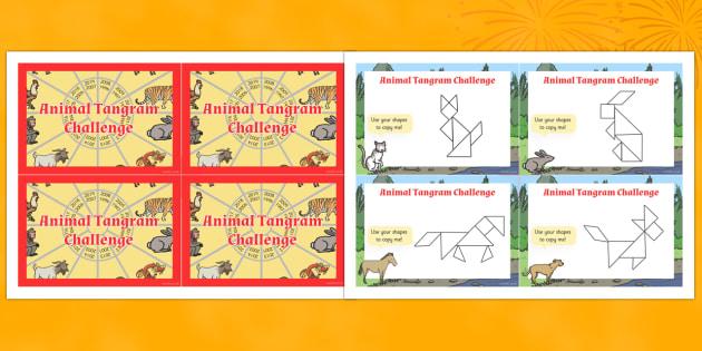 Chinese New Year Tangram Challenge Cards - challenge, tangram