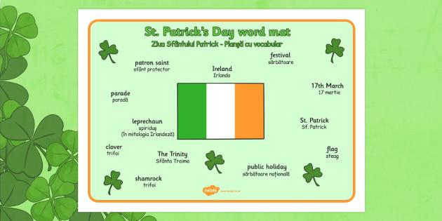 St Patrick's Day Word Mat Romanian Translation - romanian, St Patricks Day, word mat, writing aid, Ireland, Irish, St Patrick, patron saint, leprechaun, 17 march