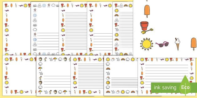 Weather Themed Page Borders - EYFS, Early Years, KS1, seasons, sun, rain, snow, writing, pencil control, mark making
