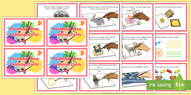 Painting Area Challenge Cards - eyfs, planning, early years, activities, continuous provision, challenge cards, painting