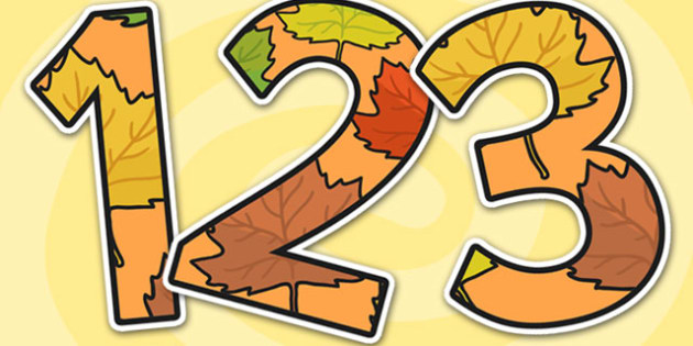 Autumn Themed A4 Display Numbers - autumn, display numbers, autumn display numbers, numbers, numbers for display, a4 display numbers, a4 numbers, a4