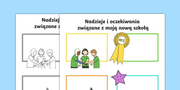 Karta Nadzieje i oczekiwania związane z nową szkołą po polsku, worksheet