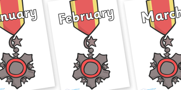 Months of the Year on Medal - Months of the Year, Months poster, Months display, display, poster, frieze, Months, month, January, February, March, April, May, June, July, August, September