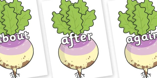 KS1 Keywords on Enormous Turnip - KS1, CLL, Communication language and literacy, Display, Key words, high frequency words, foundation stage literacy, DfES Letters and Sounds, Letters and Sounds, spelling