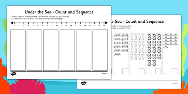 Under the Sea Themed Count and Sequence Cut and Stick Activity