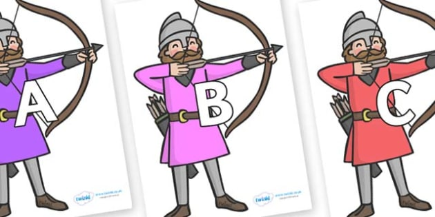 A-Z Alphabet on Archers - A-Z, A4, display, Alphabet frieze, Display letters, Letter posters, A-Z letters, Alphabet flashcards