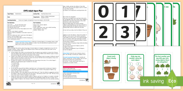 EYFS Counting Nature Hunt Adult Input Plan and Resource Pack - Maths, Counting, Numbers, Irregular arrangement, total number, Outdoors, Nature, Hunt  Early Years P