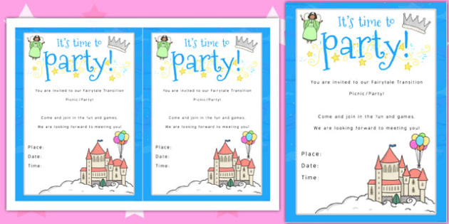 Fairytale Themed Picnic and Party Invitation invitation