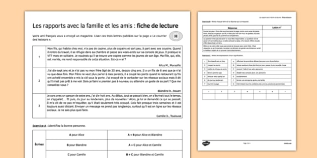 Les rapport avec la famille et les amis: fiche de lecture Relationships with Family and Friends Reading Comprehension Higher Tier - french, Reading Comprehension, Higher, Relationships, Family, Friends