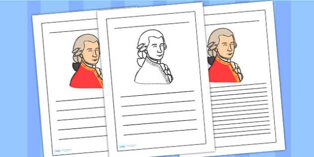 Wolfgang Amadeus Mozart Writing Frame - wolfgang amadeus mozart, mozart,  writing frame, writing template, writing guide, writing aid, line guide, writing