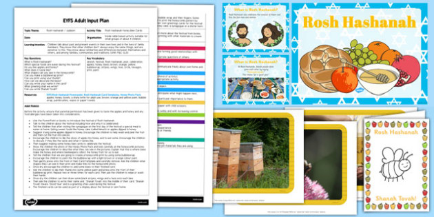 Rosh Hashanah Honey Bee Cards EYFS Adult Input Plan and Resource Pack