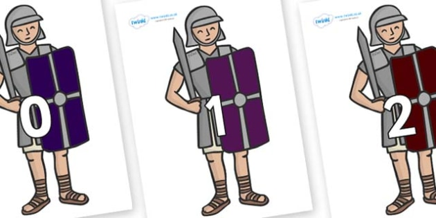 Numbers 0-50 on Roman Soldiers - 0-50, foundation stage numeracy, Number recognition, Number flashcards, counting, number frieze, Display numbers, number posters