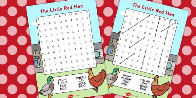 The Little Red Hen Wordsearch - Little, Red, Hen, Wordsearch