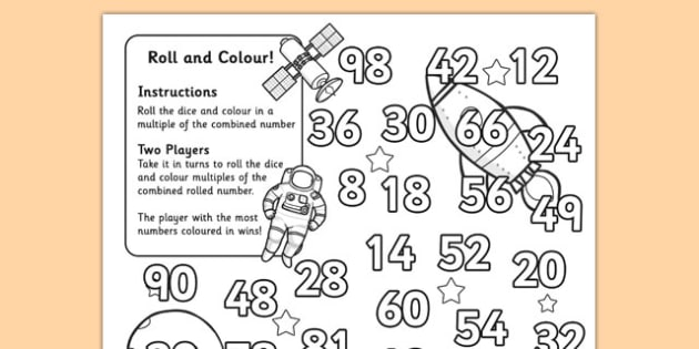 Space Themed Multiplication Roll and Colour Activity (Two Dice) - multiply