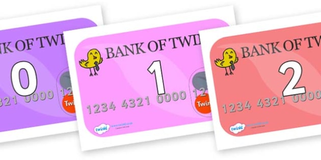 Numbers 0-50 on Debit Cards - 0-50, foundation stage numeracy, Number recognition, Number flashcards, counting, number frieze, Display numbers, number posters