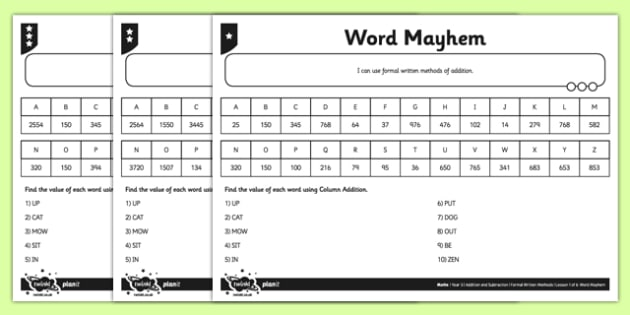 Year 5 Word Mayhem Activity Sheet - add, written method, columnar addition, four digits, column addition, addition, differentiated, worksheet